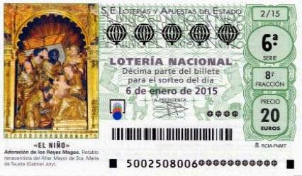 Detalle de los décimos del sorteo extraordinario de El niño de la lotería Nacional