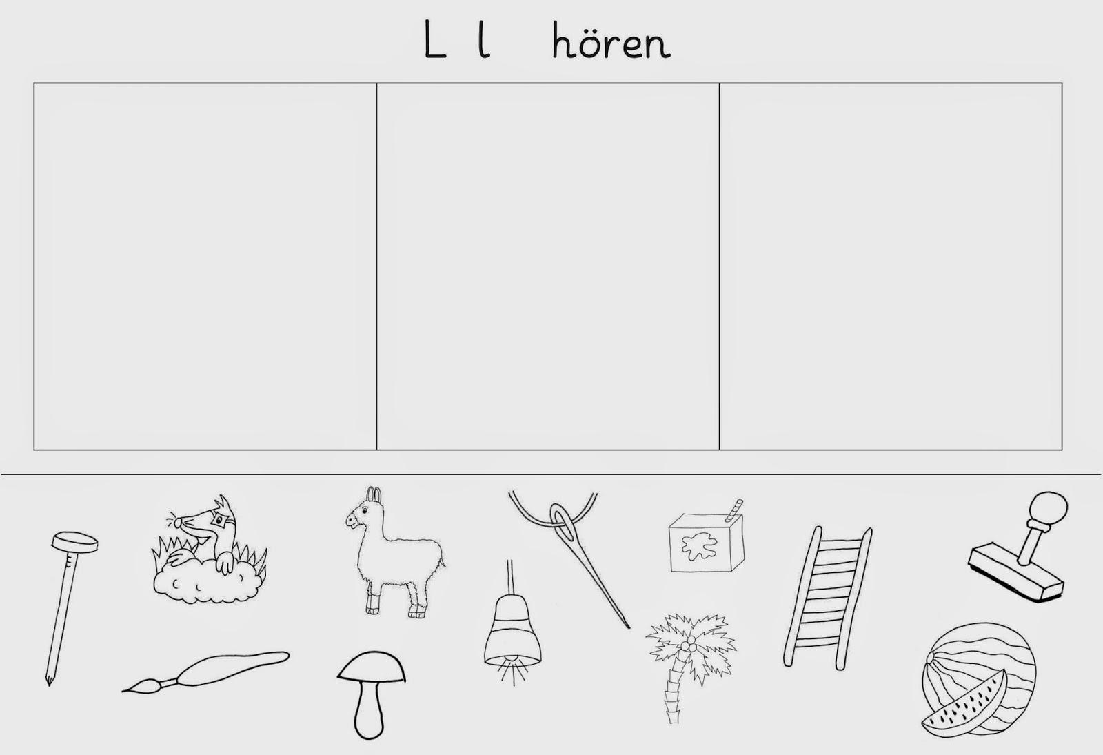 Lernstübchen: drei Arbeitsblätter zum L - l