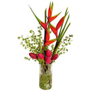 Exuberante arranjo tropical confeccionado em vaso de vidro com helicônias, zingiber zerumbet (planta originária de países asiáticos também encontrado na Amazônia) e acabamento com semente de eucalipto. Dimensões: Alt = 68 cm Larg= 30 cm