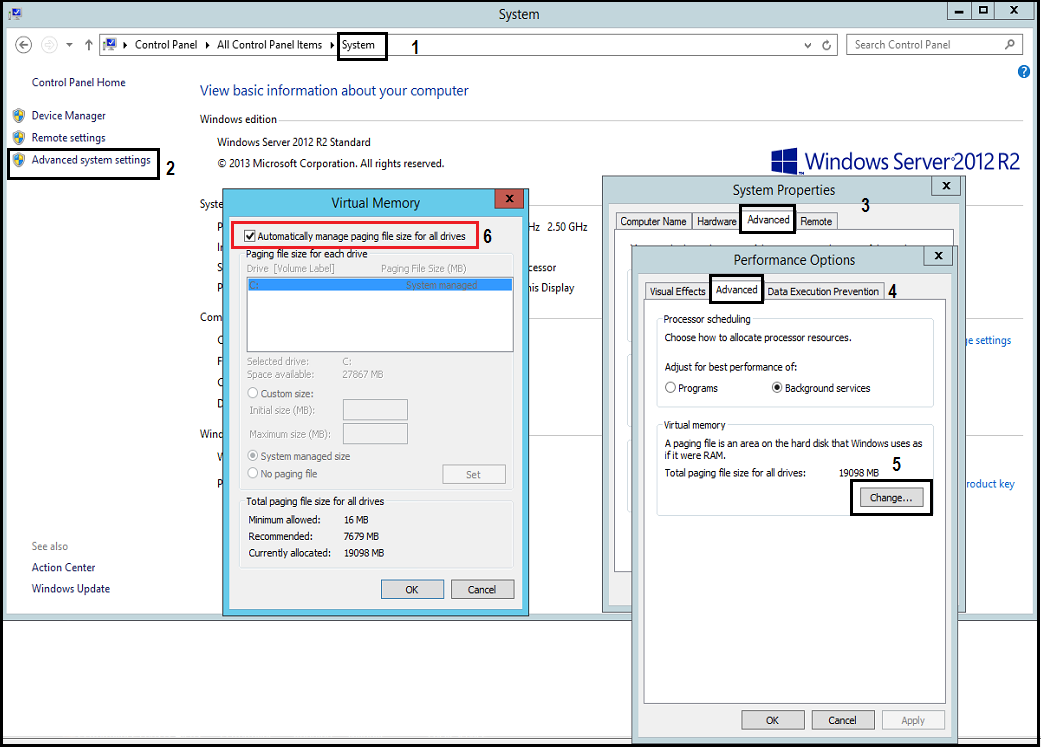 How to change Page file size on Windows Server 2012? | Unified ...