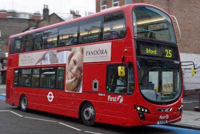 double decker 25 at Bow Church, 25 June 2011