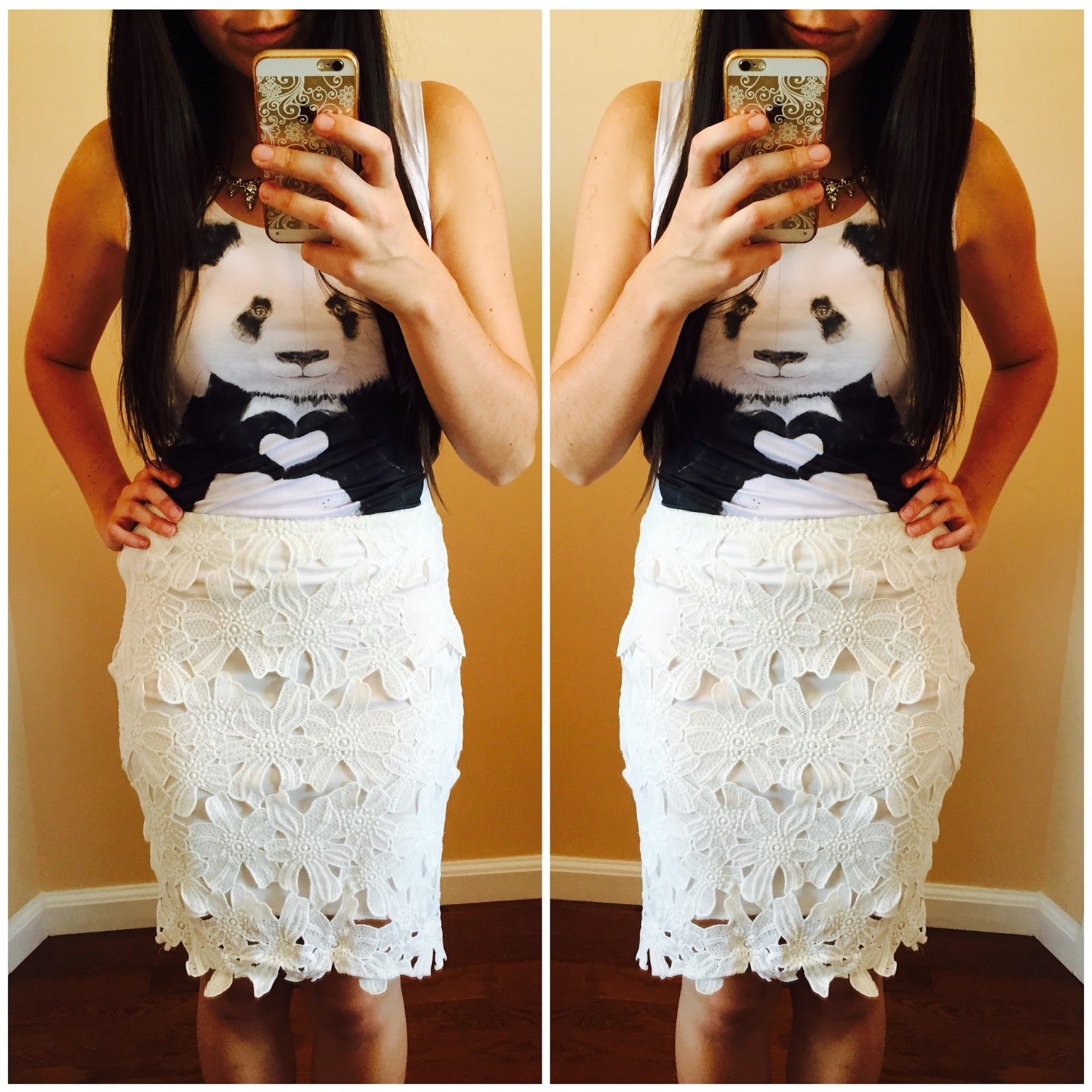 lace skirt with a tank top, panda tank top,