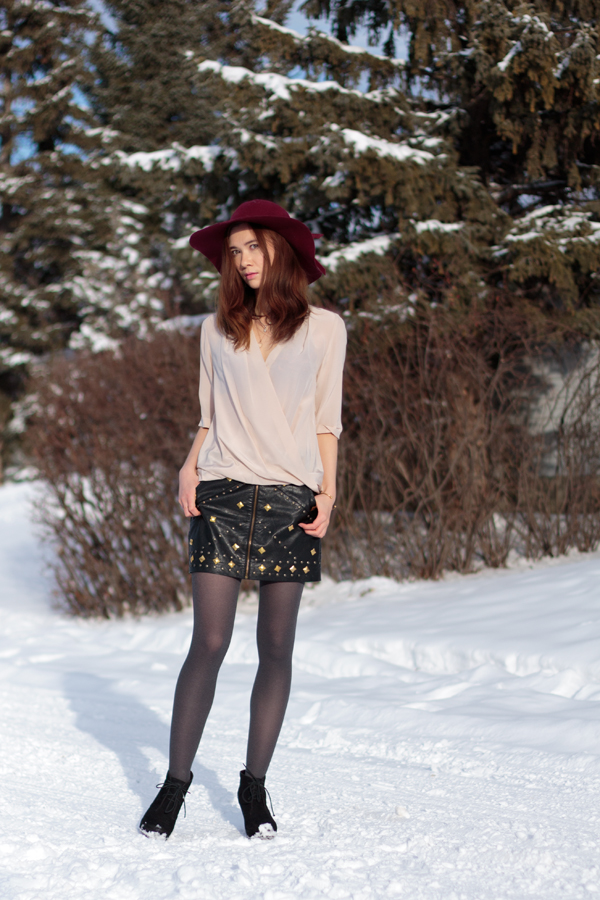 studded, leather skirt, draped blouse, felt hat, marsala, oxblood, winter style, calgary fashion, amanda uprichard, ladakh x revolve
