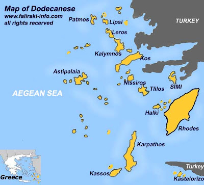 Dodecannese Islands Map Province Area