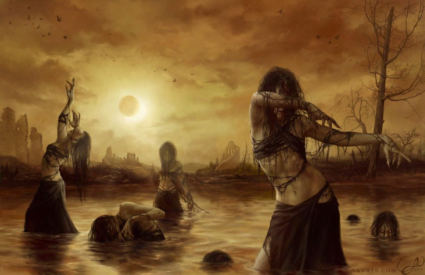 Imagen obscura de unas brujas saliendo de un pantano bajo un eclipse y un fondo en ruinas