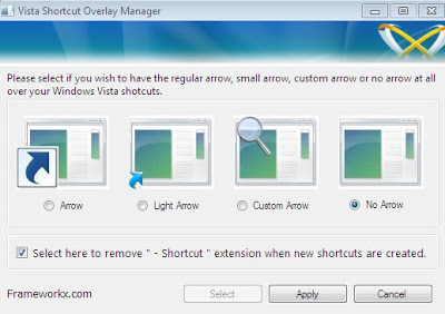 Removing Arrow button from Shortcut file