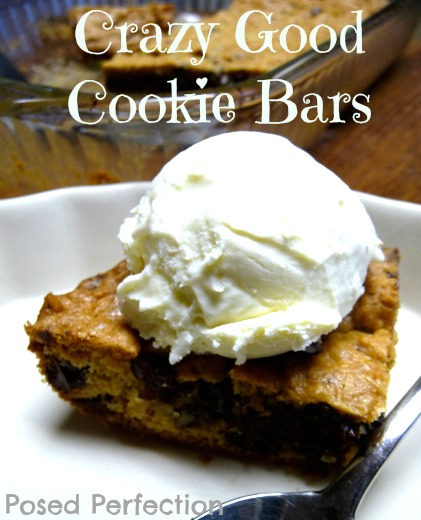 Crazy Good Cookie Bars Topped with Ice Cream