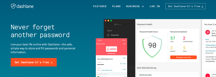 All the passwords, payments, and personal info you store in Dashlane are kept safe