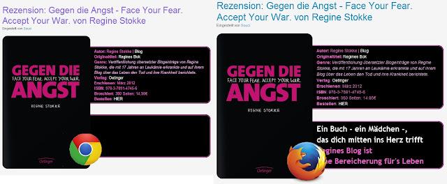 Screenshot der Anzeige von Chrome gegen die von Firefox