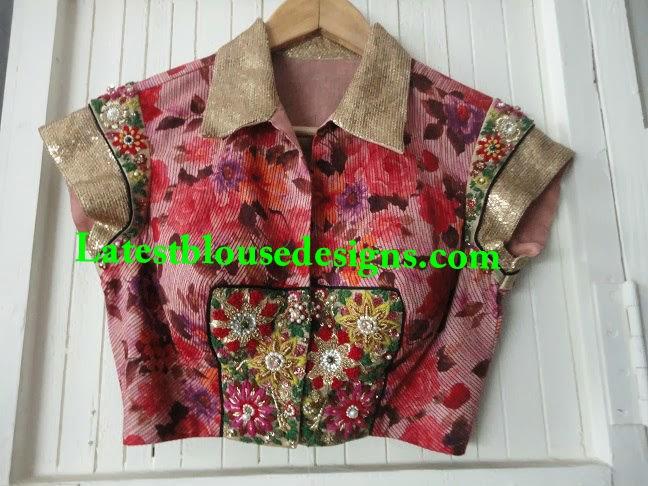trendy collar neck saree blouse