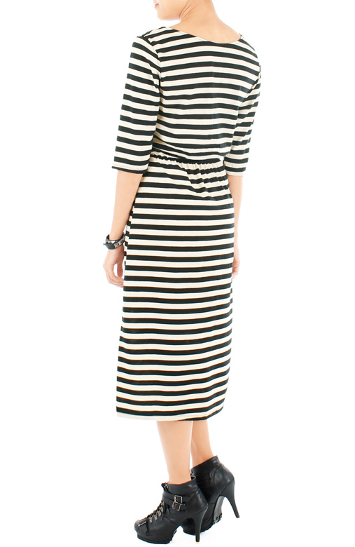 Lady in Black Stripe Dress with ¾ Sleeves