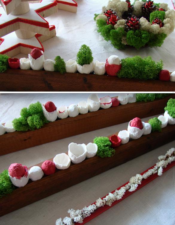 decorazioni Natalizie con fiori di carta legno licheni