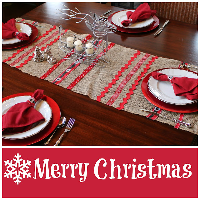 Christmas Table Runner with Ribbon