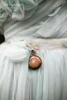 Heritage locket on Elizabeth Dyer wedding gown - Posted by Patricia Stimac, Seattle Wedding Officiant