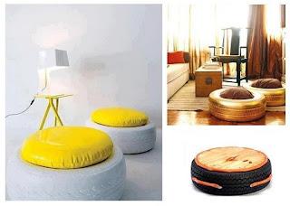 Muebles Modernos con Neumáticos Reciclados