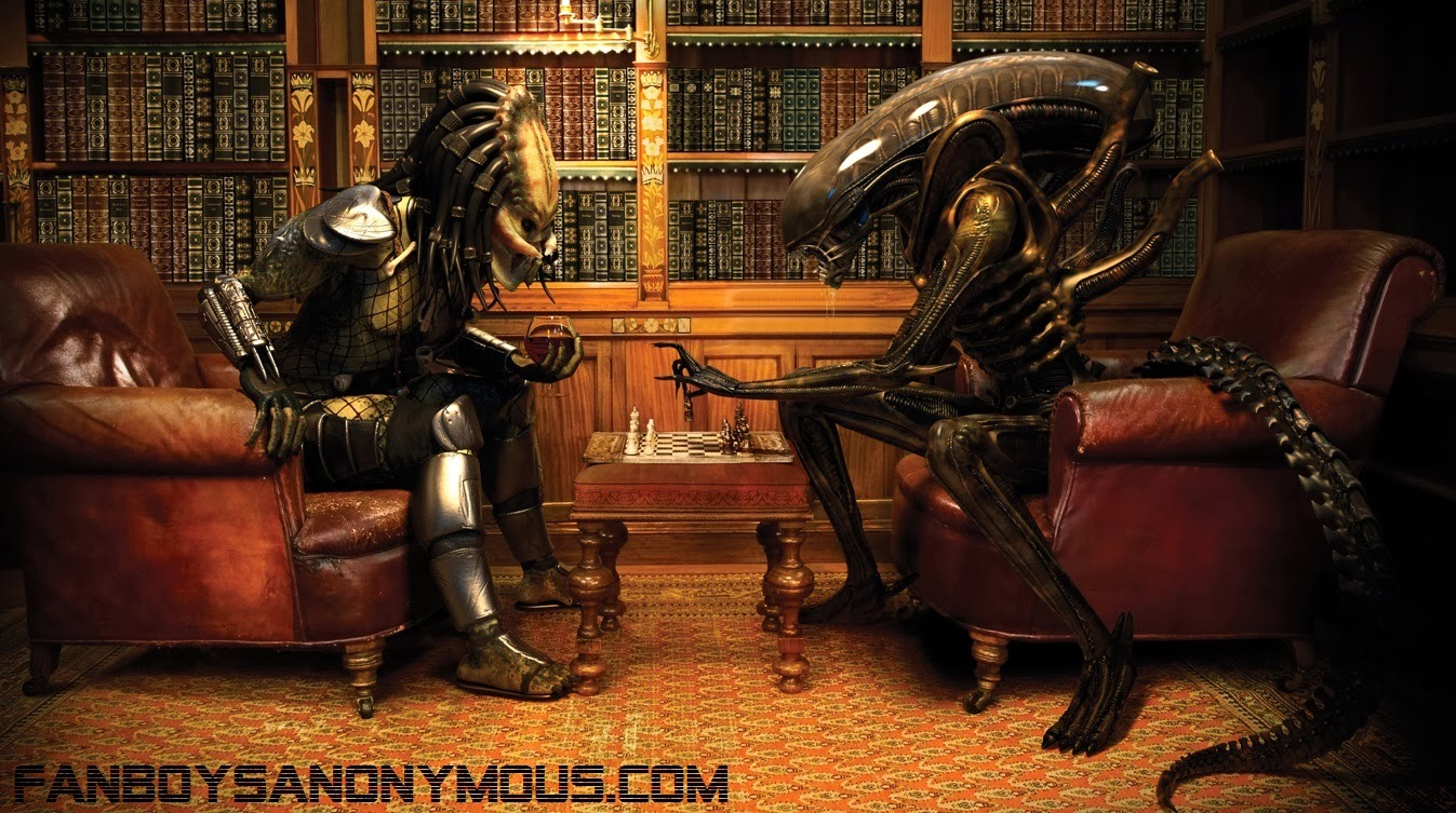 Alien versus Predator chess game parody graphic art