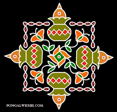 pongal kolam themes with pots