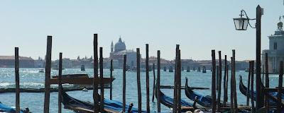 venice italy, shoreline, gondola dock, grand canal