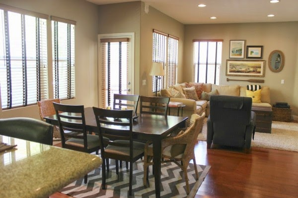 Adorable Dining Room And Contemporary Faux Wood Blind Also Beautiful Laminte Flooring For Open Plan Living Design Inspiration