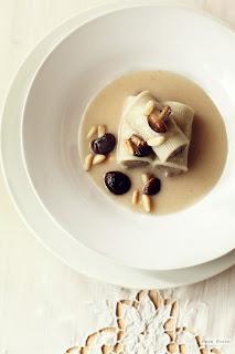 Crema de peras con rigatoni rellenos de setas