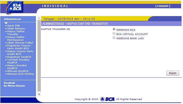 menghapus daftar transfer internet banking bca