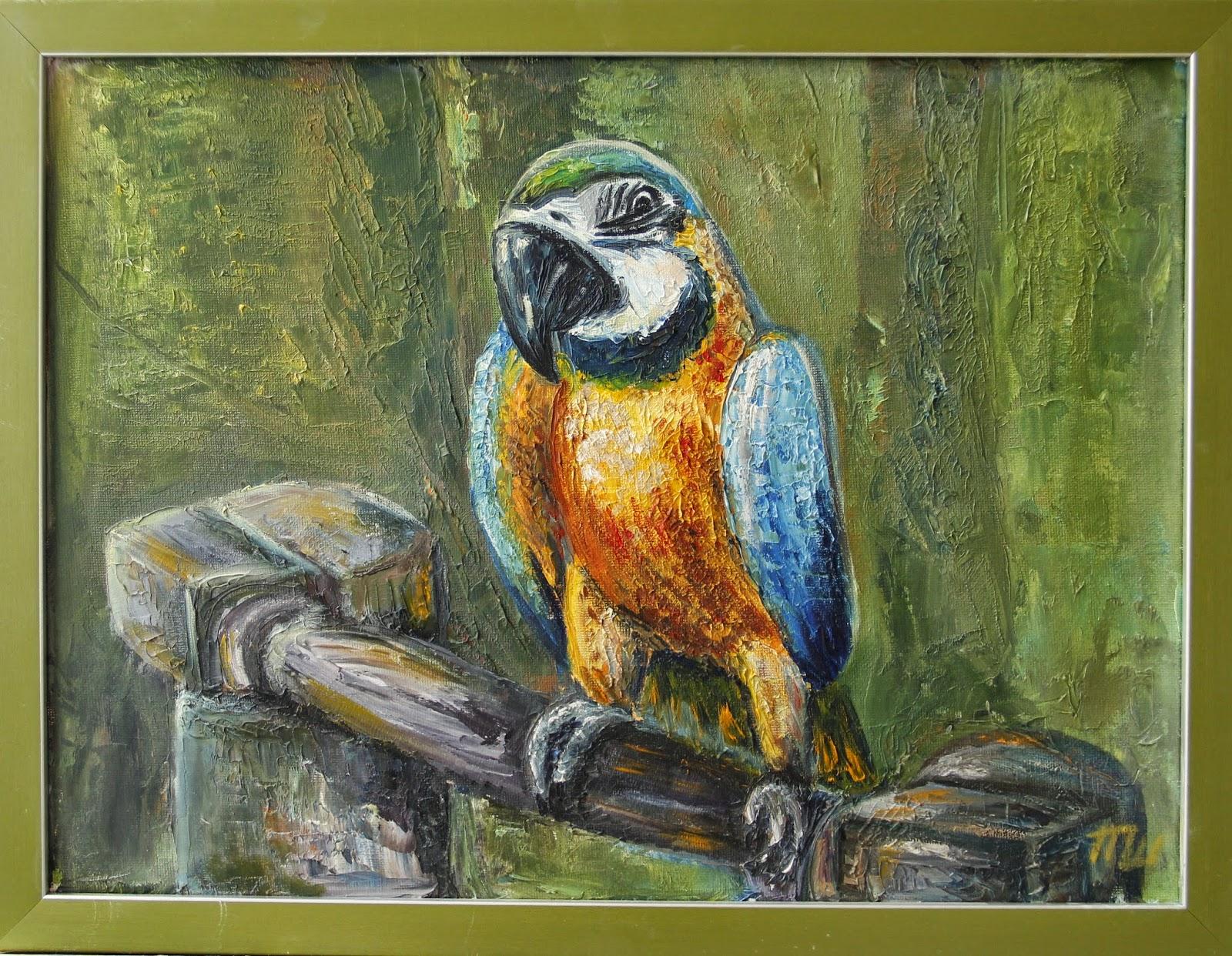 картина холст масло попугай желтый с синим