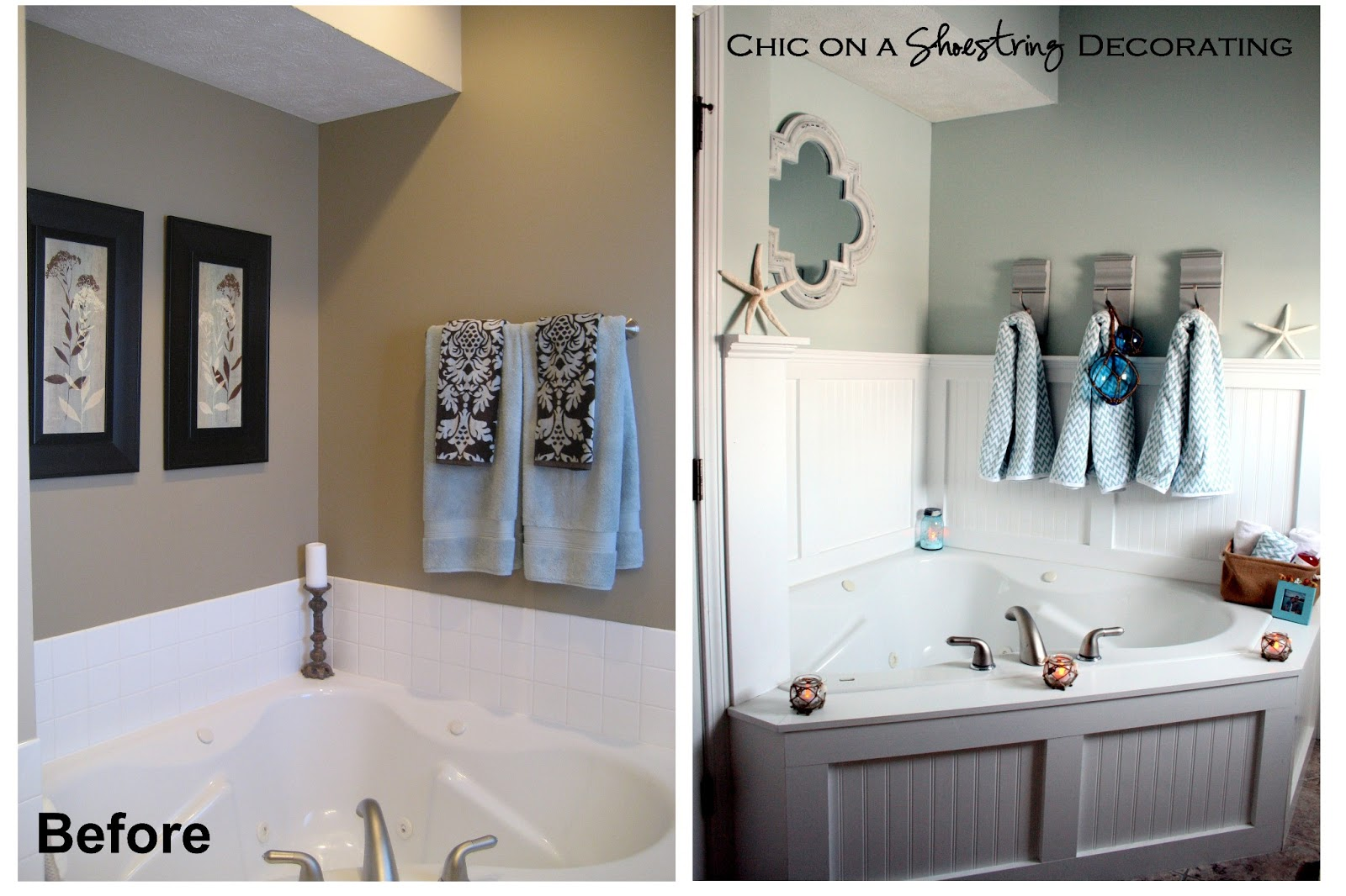 Chic on a shoestring decorating beachy bathroom reveal for Cheap decorating bathroom ideas
