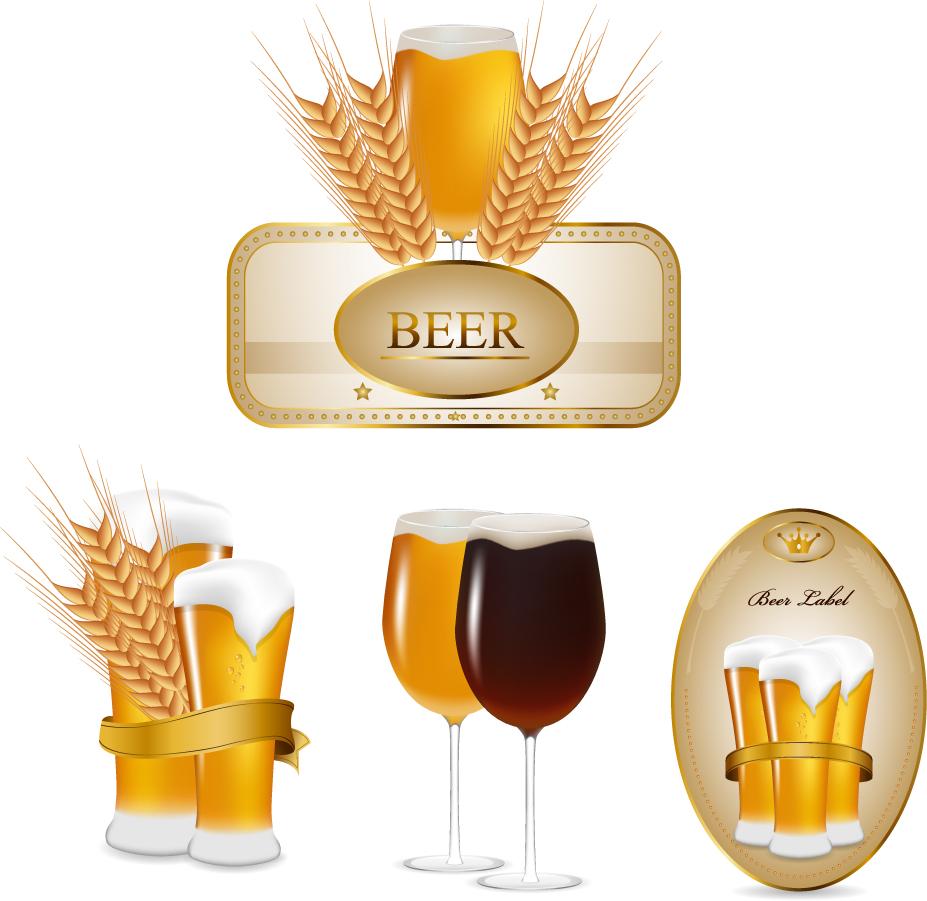泡立つビールのボトルステッカー beer labels bottle stickers イラスト素材