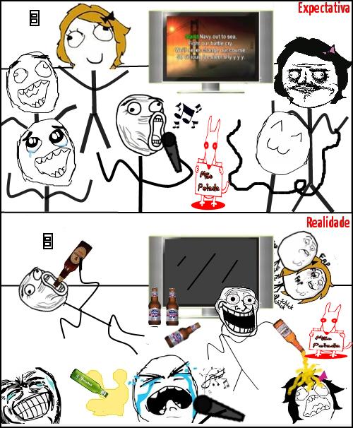 meme Expectativa e Realidade De Uma Festinha Com Caraoke