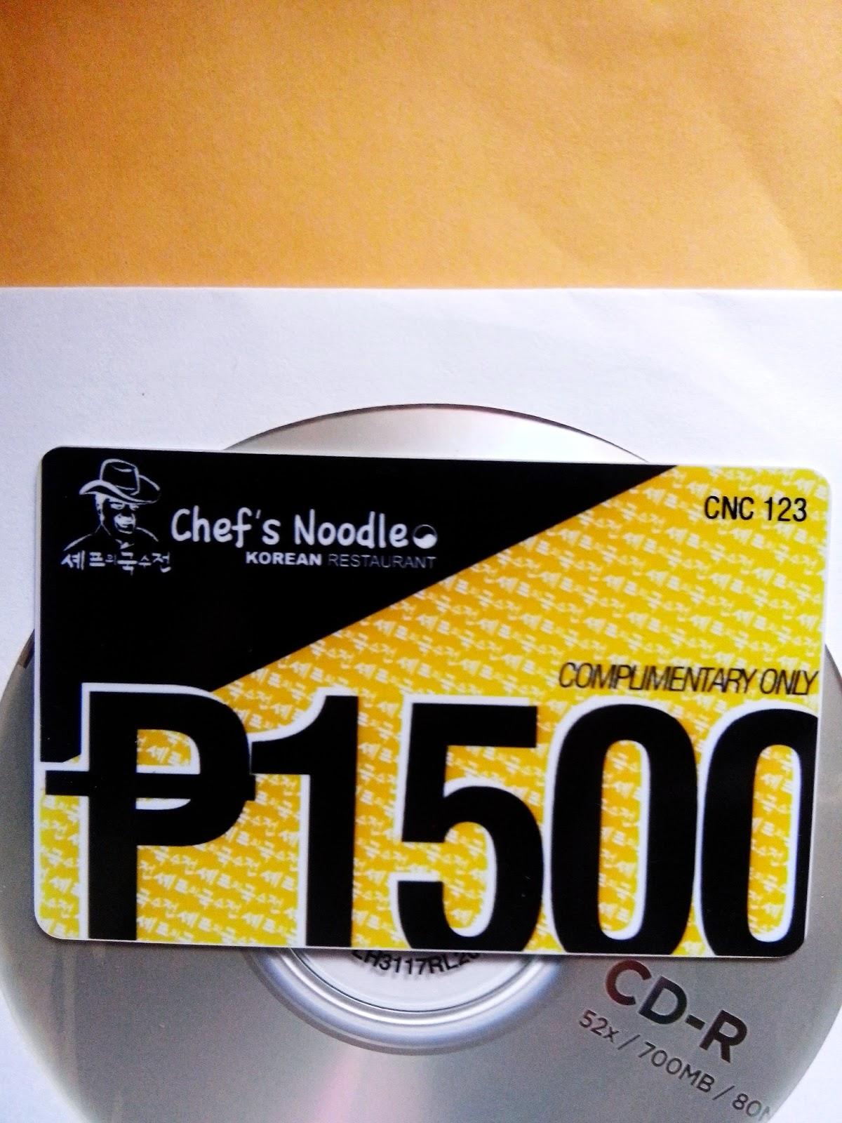 chefs noodle voucher