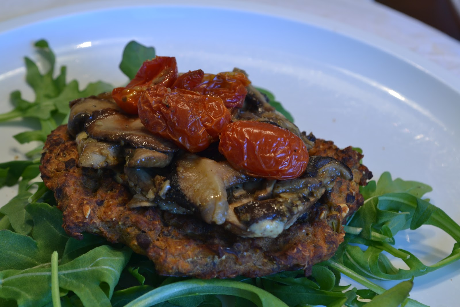 Lunch – Spicy Black Bean Cakes on a bed of arugula and roasted ...