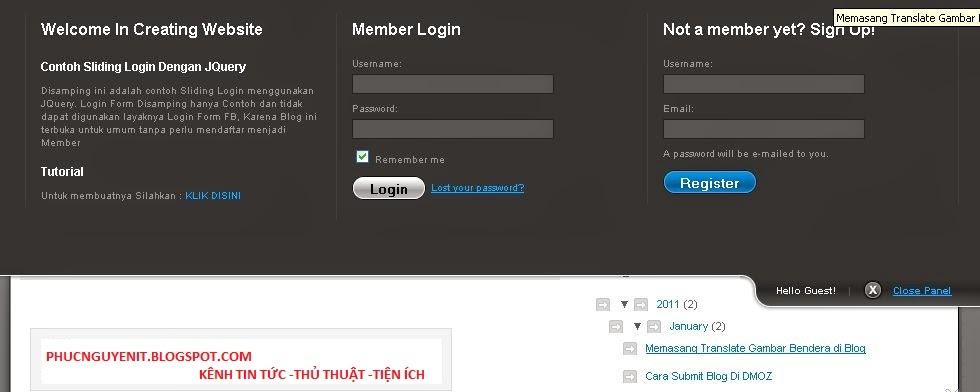 làm thế nào để tạo được khung đăng nhập và đăng ký trên blogger