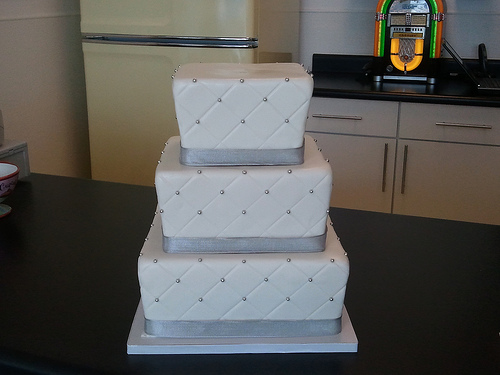 Quilted fondant with silver dragees cake Turquoise Cheetah birthday cake