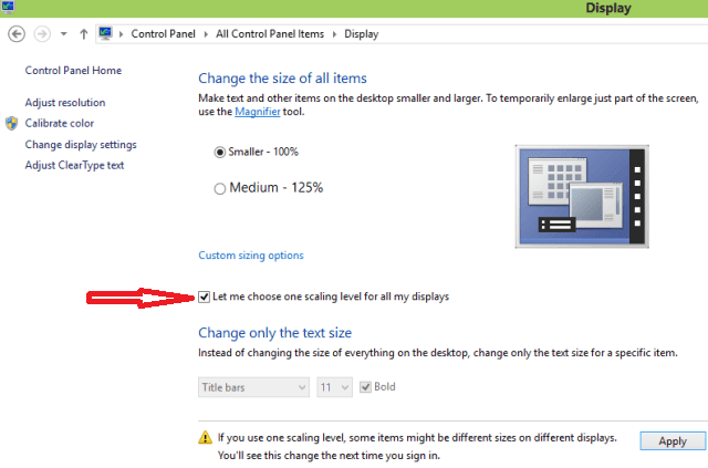 how to change size of ickon win 10