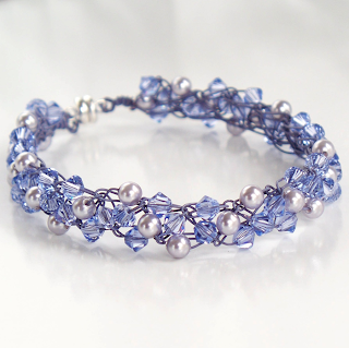 Lavender Pearls and Crystals Braidlets