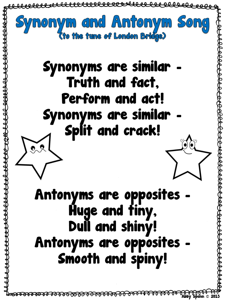 Classroom freebies synonym antonym song for Synonym modell