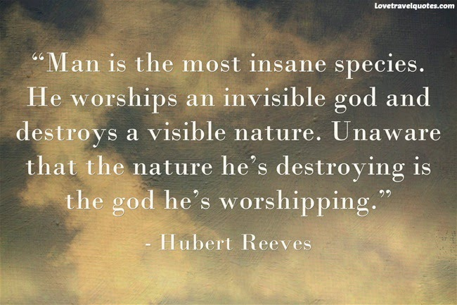 Man is the most insane species. He worships an invisible God and destroys a visible Nature. Unaware that the Nature he's destroying is the God he's worshipping