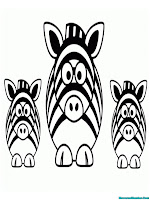 Mewarnai Gambar 3 Ekor Zebra Yang Lucu