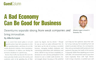 "Screen shot image of Mobile Electronics magazines web page displaying Alberto A Lopez's article ""A bad economy can be good for business"", ""Downturns bring innovation and separate strong from weak"""