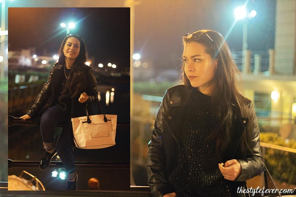 Scarpe stringate da donna, francesine, outfit nero con jeans, borsa Guess bianca, cappottino Alcott, fashion blogger Bari, Mina Masotina