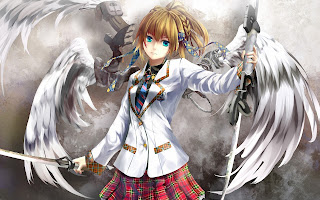 Angels Wings Blonde Hair Sword School Uniform Sword Weapon Female Girl Anime HD Wallpaper Desktop PC Background  2000