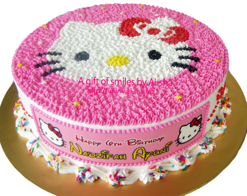 Birthday Cake Hello Kitty Hello Kitty Buttercream Drawing Happy