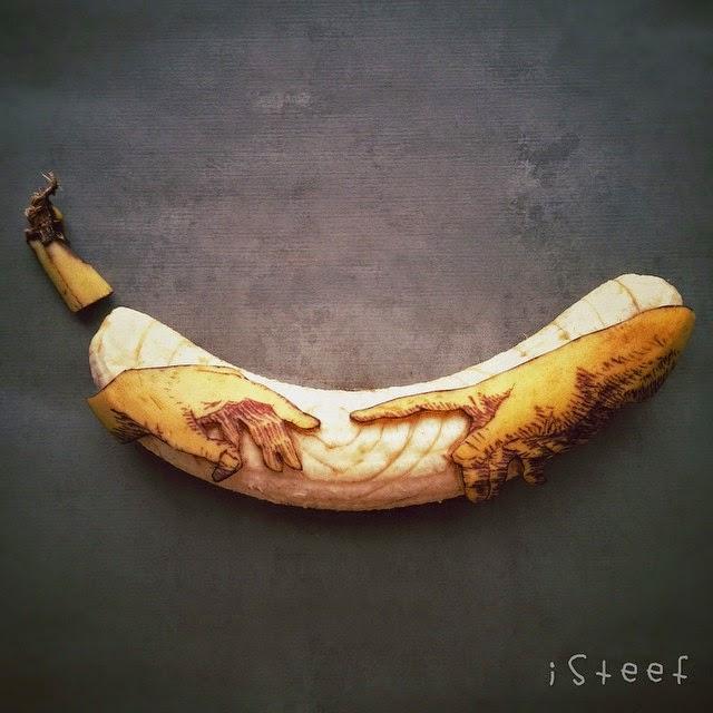 A Criação de Adão de Michelangelo - Banana Art por Stephan Brusche