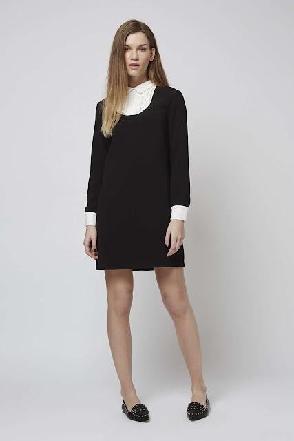 black dress white shirt, ruffle bib black dress,