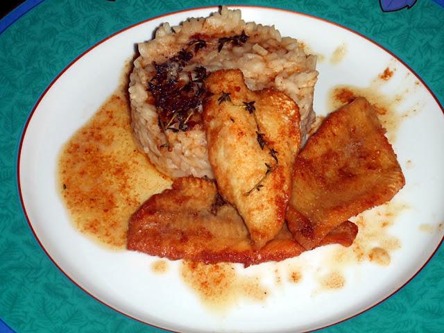 risotto con i filetti di pesce persico del lago di como