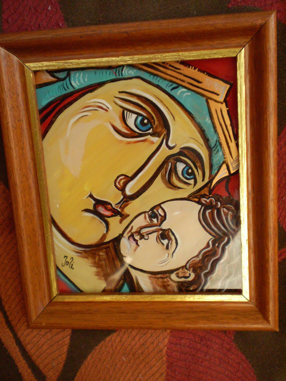 icon, The Virgin small2,  hand painting, oil on glass,