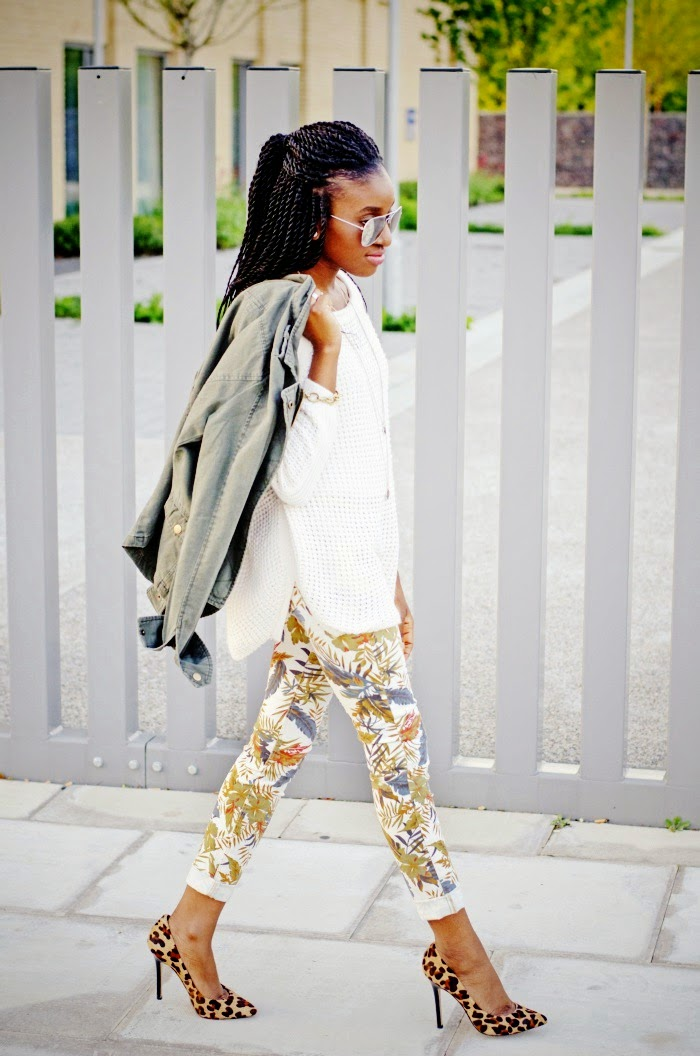 clashing prints dune leopard print heels with print trousers