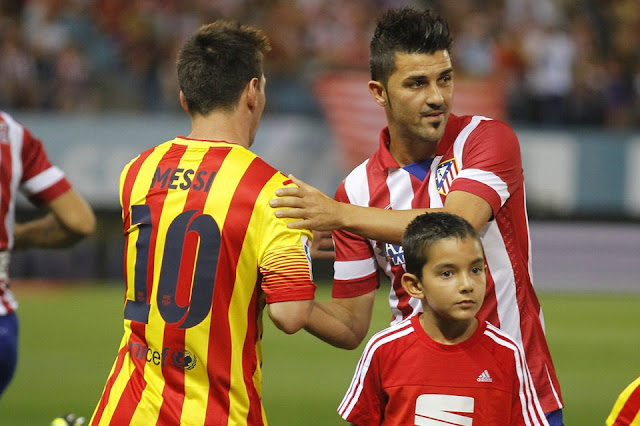 Lionel Messi and David Villa in Super Copa Clash between Atlectio Madrid and Barca