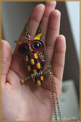 Colorful owl necklace with long chain