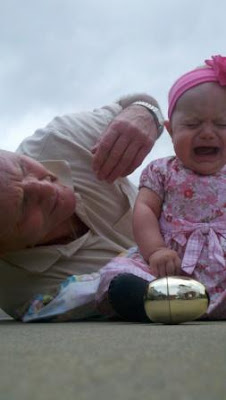 angry baby with grandfather